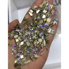 1 sac de strass pour ongles en forme spéciale 3D, or irrégulier à dos plat, strass blancs, accessoires de Nail Art, strass en cristal AB