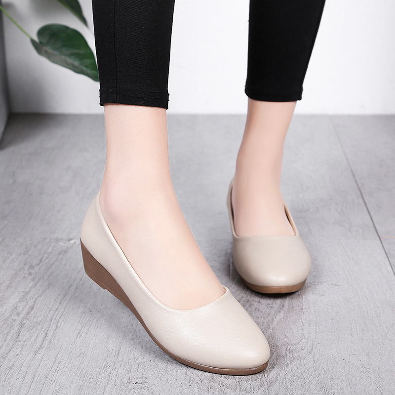Spring Autumn Office Lady Shoes Women Wedges Pumps High Heels White Wedding Shoes Woman Boat Shoes Ladies Basic Pump