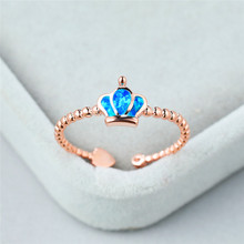 Vintage Female Blue Opal Stone Ring Charm Queen Rose Gold Adjustable Rings For Women Elegant Bridal Crown Engagement