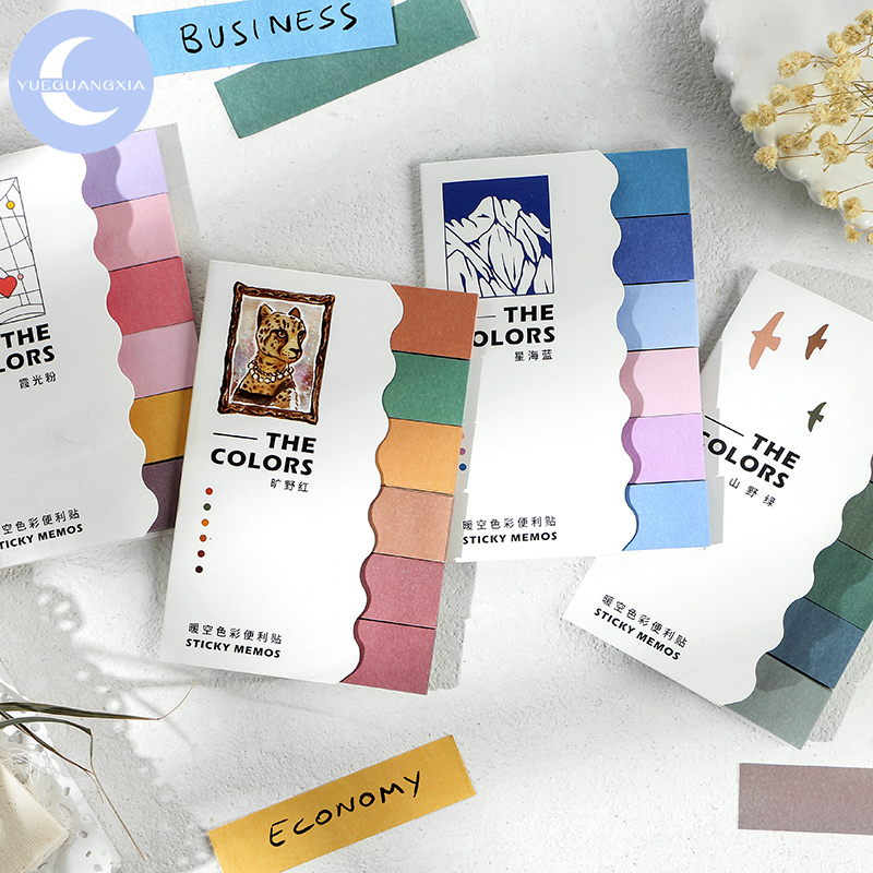 YueGuangXia 4 Designs 120pcs Colorful Minimalism Deco Stickers Page Flags Scrapbooking Bullet Journal Artist Stationery Stickers