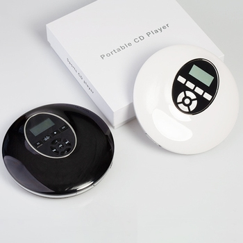 Estilo Redondo Reproductor de CD portátil, auriculares HiFi, Walkman de CD, Reproductor de disco a prueba de golpes