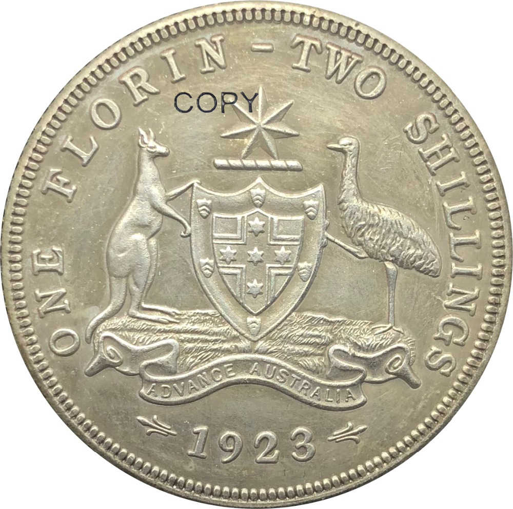 In australia 1 Un Florin Due Scellini George V 1923 Coronata Del Busto A Sinistra In Ottone Placcato Argento Copia Moneta Con Reeded Bordo