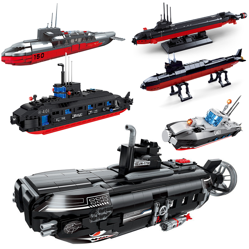 submarine sets military Ship ww2 warship aircrafted carrier navy building kits blocks kids toys bricks world war 2 sets weapon