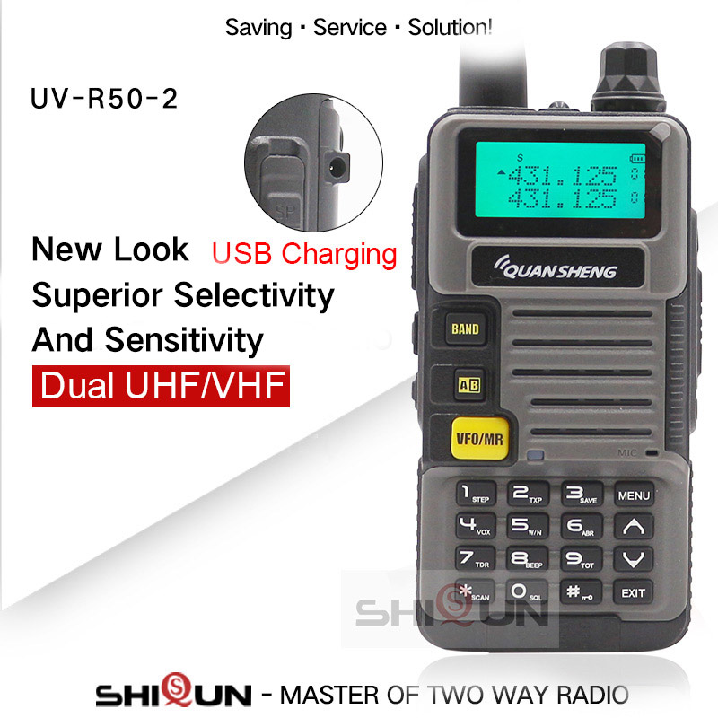 Ham Radio For Hunting UV-R50-2 Quansheng 5W Dual Band VHF UHF 136-174Mhz/400-520Mhz Walkie Talkie
