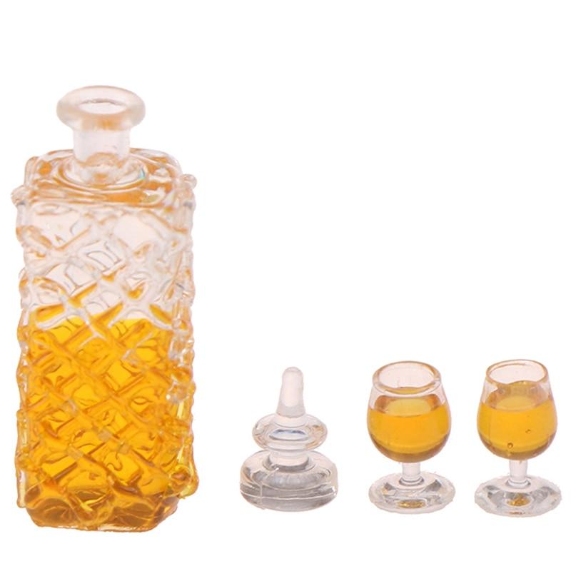 3pcs/set(1 Bottle+2 Cups) Colorful Wine Bottles Dollhouse Miniature 1:12 Scale Classic Toys For Kids Scale Models