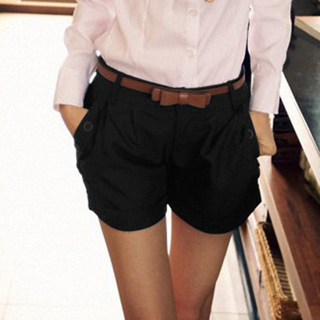 Women Solid England Style Mid Waist Button Fly Shorts Women's Casual Summer Pantalones Women Slim Large Size Pocket Shorts 4