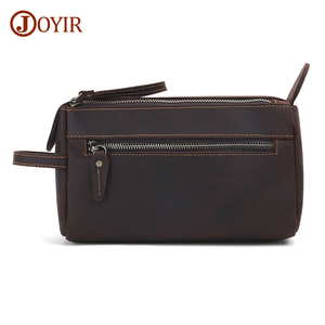 JOYIR nouveau Design en cuir véritable hommes sac de lavage Vintage fermeture éclair pochette portefeuille mode homme portefeuilles haute qualité hommes sac à main pochette