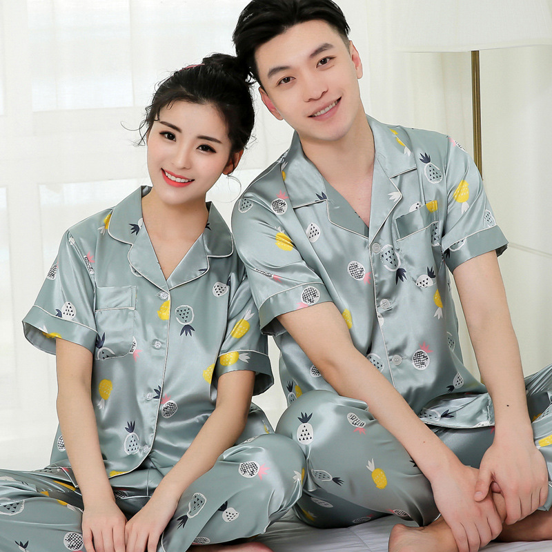 Couple Sleepwear Mens Silk Satin Pajamas Sets Short Sleeve Home Suit Print Lounge Summer Pyjamas Elastic Waist Pants Women 3XL