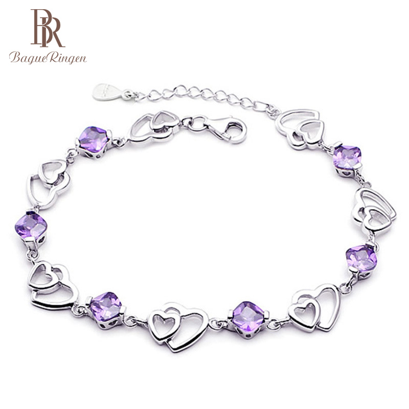 Bague Ringen Elegant Bracelet For Women Jewelry 925 Sterling Silver Natural Purple Amethyst Double Love Heart To Heart Cute Tren
