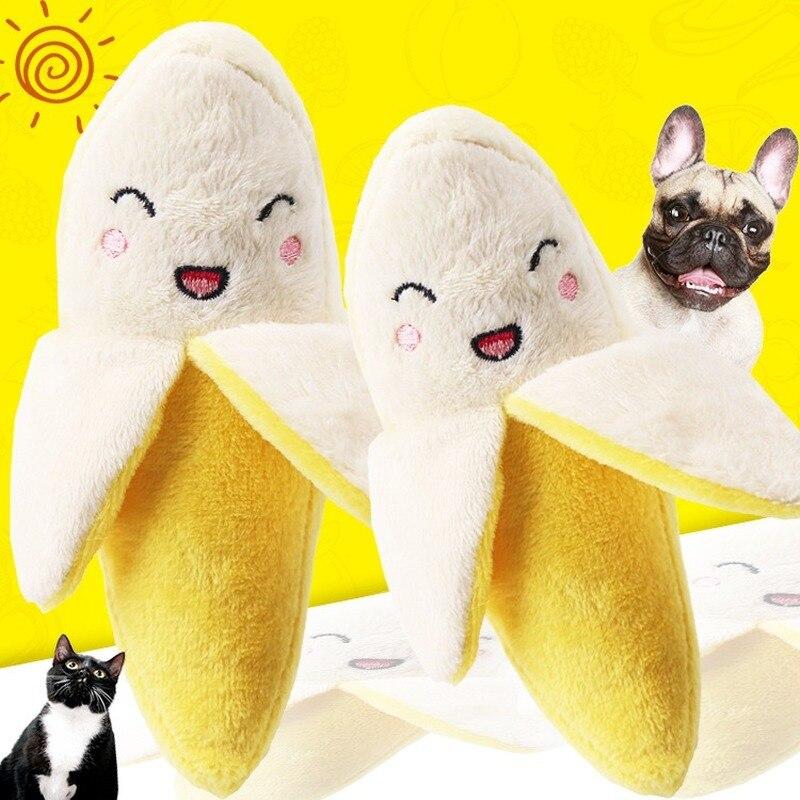 Милая жевательная игрушка для домашних животных, мягкая плюшевая игрушка, имитация фруктов, бананов, Котят, щенков, Интерактивная игрушка, т...