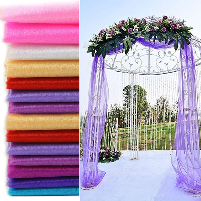 48cm * 5m transparent crystal organza tulle roll fabric, birthday wedding banquet home decoration