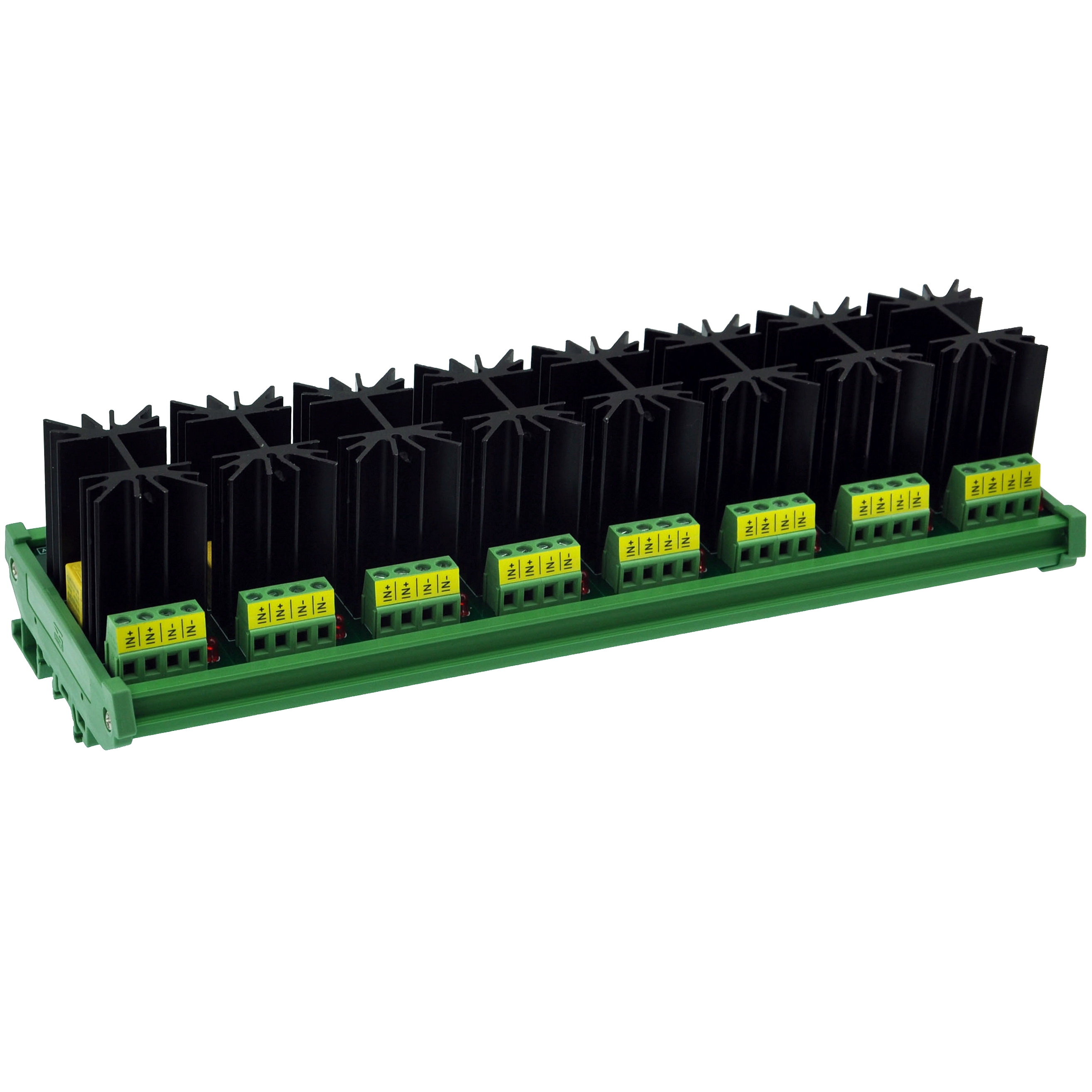 CZH-LABS DIN Rail Mount 12 Amp Solid State Relay SSR Module, In 4~32VDC, Out 100~240VAC. (8 Channels)
