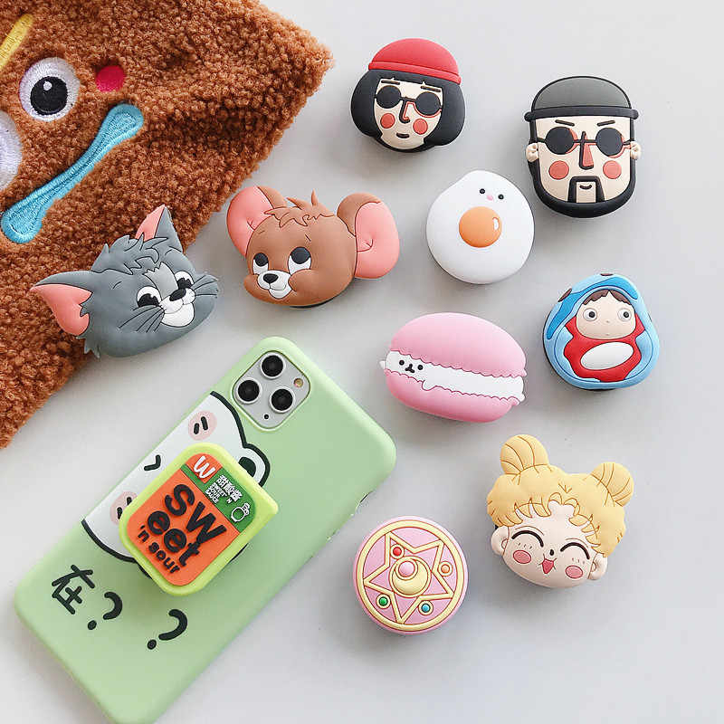 חמוד Cartoon מתקפל Stand מחזיק עבור טלפון נייד מקרה 3D קריקטורה גריפ אצבע מחזיק עבור iphone 11 עבור Huawei עבור סמסונג מקרי