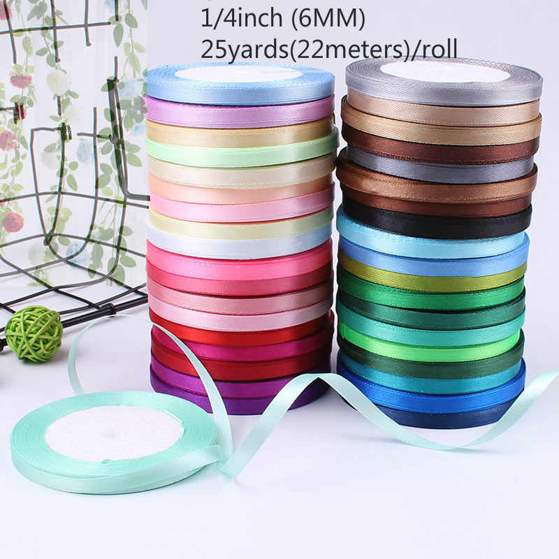 6mm 25Yard Silk Satin Ribbon for Wedding Party Decoration Invitation Card Gift Wrapping Scrapbooking Supplies Riband Sew Craft