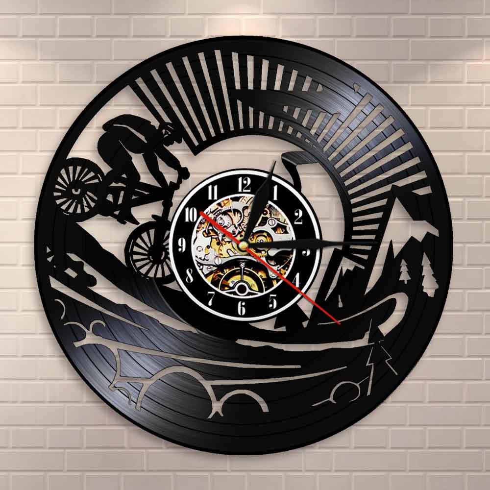 Dirt Bike-Reloj de pared con grabación de vinilo para bicicleta, reloj de pared artístico para ciclismo de montaña, regalo divertido para ciclista