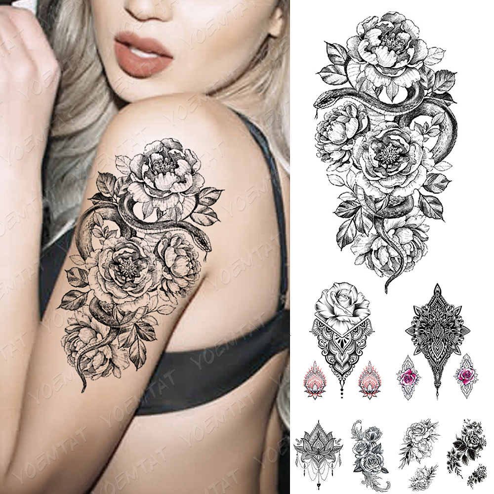 Flower Rose Peony Lace Skull Flash Tattoos Waterproof Temporary Tattoo Sticker  Snake Leaf Body Art Arm Fake Tatoo Women Men