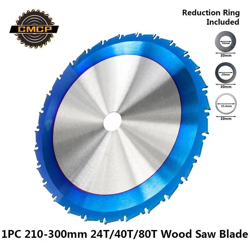 1pc 210 250 255 300mm Circular Saw Blade Nano Blue Coated TCT Saw Blade 24T 28T 40T 80T Carbide Wood Cutting Disc