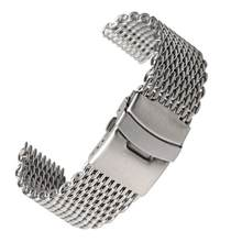 Ремешок из нержавеющей стали для наручных часов, браслет «Миланская сетка акулы» для мужчин и женщин, Серебристый браслет для мужчин, 18 мм 20 ...