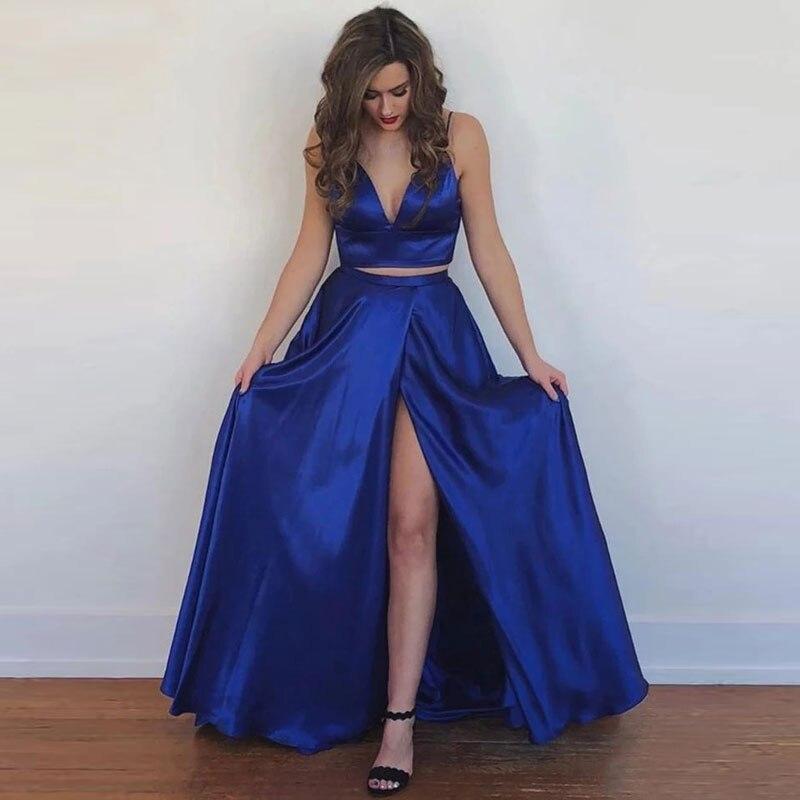 Elegant Slit Satin Two-pieces Vestidos De Fiesta De Noche Prom Party Evening Dresses Robe De Soiree Vestidos De Fiesta De Noche