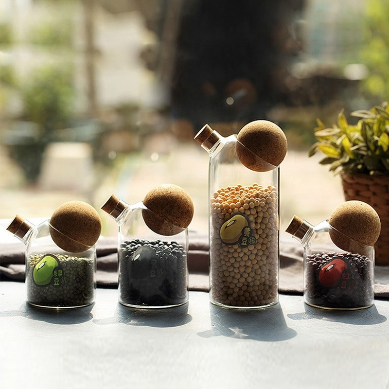 Kitchen Organizer Storage Jars Creative Glass Spice Food Storage <font><b>Containers</b></font> Tank Cork Lid Cans Sealed Coffee Preservation Jars image