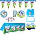 81 шт./лот Doraemon тема воздушные шары для украшения торта топперы флаги Baby Shower чашки тарелки баннер на день рождения вечерние выбросы скатерть