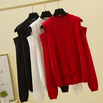 shintimes Turtleneck 2020 Winter Clothes Knitted Sweater Sexy Off Shoulder Sweaters Women Pullover Long Sleeve Korean