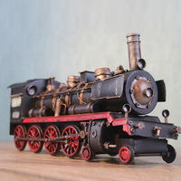 30X9.5X14.5cm Steamer Retro Creative Train Model Handmade Tin Locomotives Practical Gift Iron Decoration Train Car Model Toys