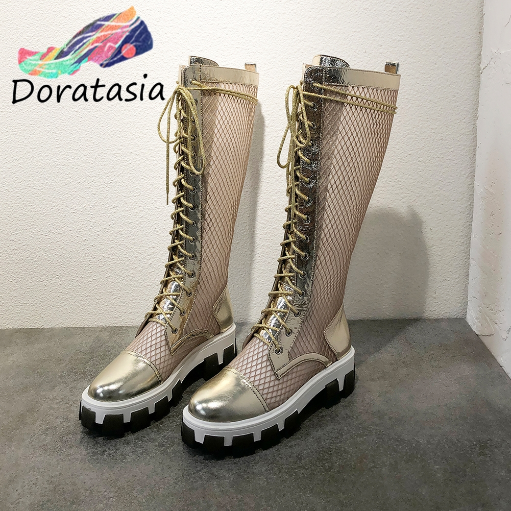 DORATASIA 2020 New Brand Design Genuine Leather Summer Boots Summer Knee High Platform Boots Women Breathable Shoes Woman