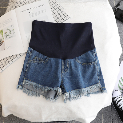 17432# Summer Thin White Denim Maternity Shorts High Waist Belly Short Jeans Clothes for Pregnant Women Pregnancy Casual Shorts 9