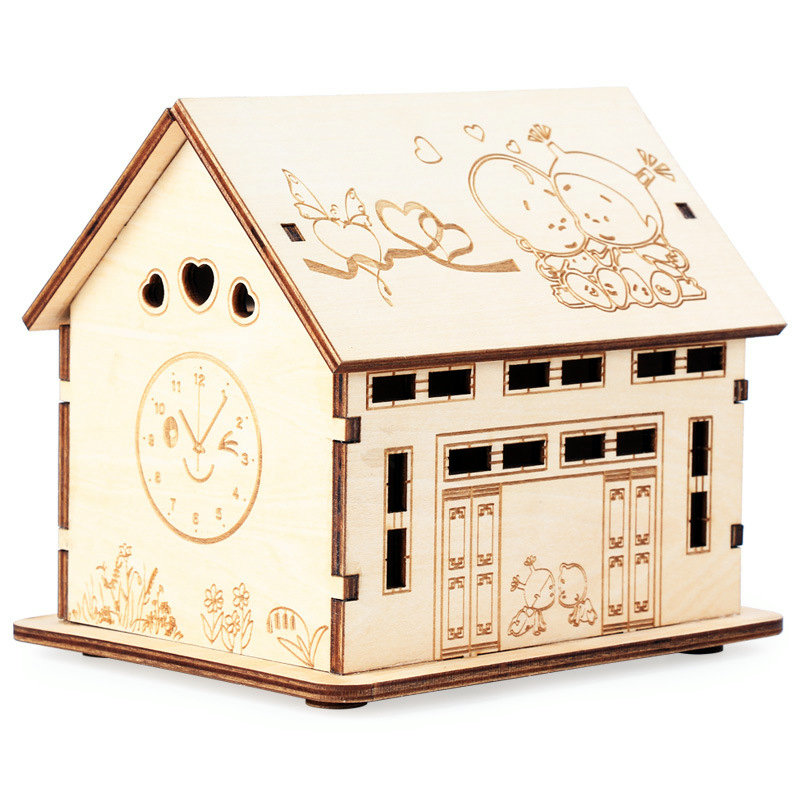 Free shippin Wooden storage tank teaching aids materials, handmade houses piggy bank, Configure the LED lamp, wood toys