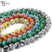 6 8 10mm Handmade Natural Malachite Stone beads For Jewelry Making Diy Bracelet Round loose Peacock wholesale K001