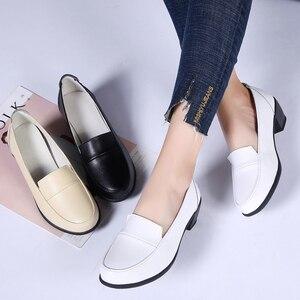 Image 5 - Stq sapatos femininos de salto médio, slip on, sapatos casuais femininos, confortáveis, de salto alto, outono, hbr799