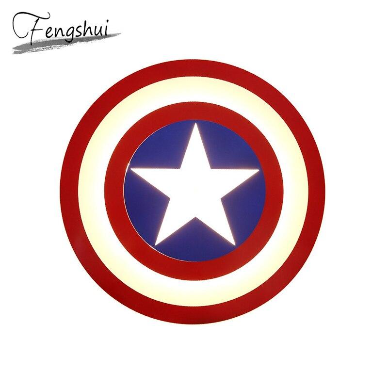 Детская комната светодиодный потолочный светильник Marvel Американский капитан мальчик спальня игровая комната декоративный Домашний Свети...