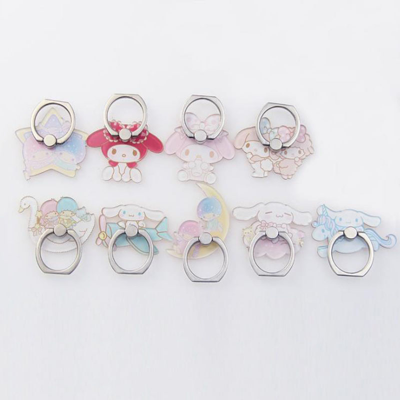 1pc Cartoon My Melody Cinnamoroll Dog Phone Holder Ring Grip Dolls Accessoriew Acrylic Figure Ring For Mobile Phone Support Toys