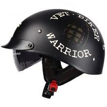Vintage negro Casco de la motocicleta abierto máscara medio Casco Retro Moto Casco Capacete aprobada por el Dot Motociclistas Capacete de las mujeres