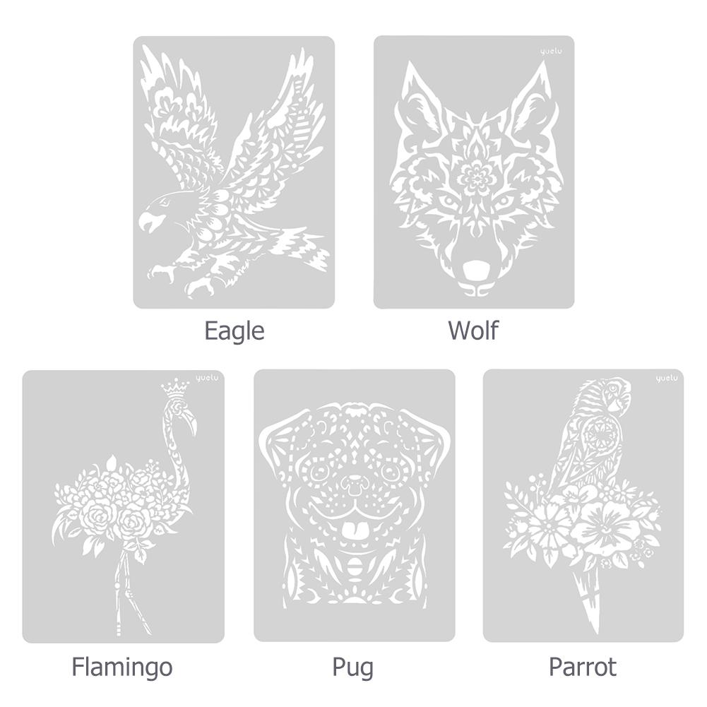 8pcs Painting Stencils Set Sea Animal Pattern Drawing Template DIY Hollow out