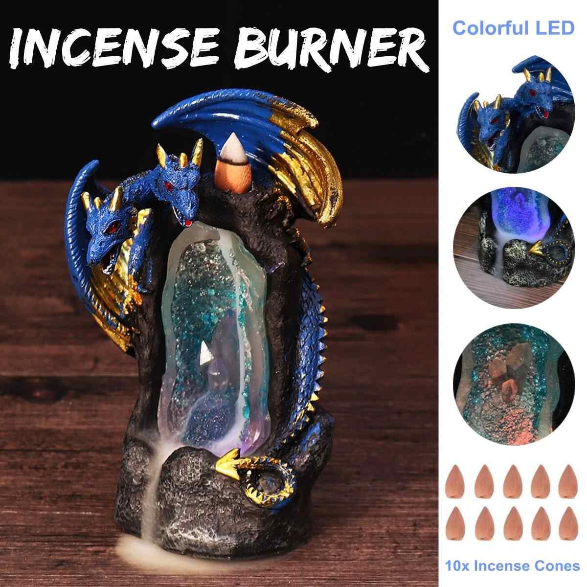 Quemador de incienso con reflujo de resina, quemador de incienso de cascada de dragón de doble cabeza con luz LED colorida para decoración del hogar