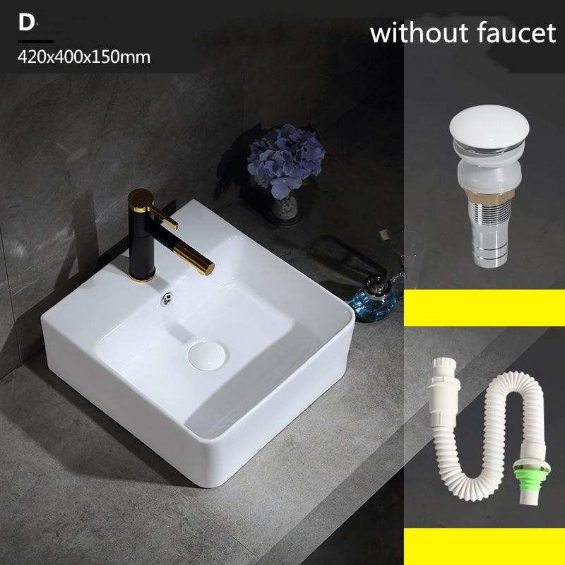 Керамический умывальник для ванной комнаты и туалета раковина белый керамический врезной умывальник с одним отверстием аксессуары для ванной комнаты раковины-столешницы - Цвет: 42x40x13cm