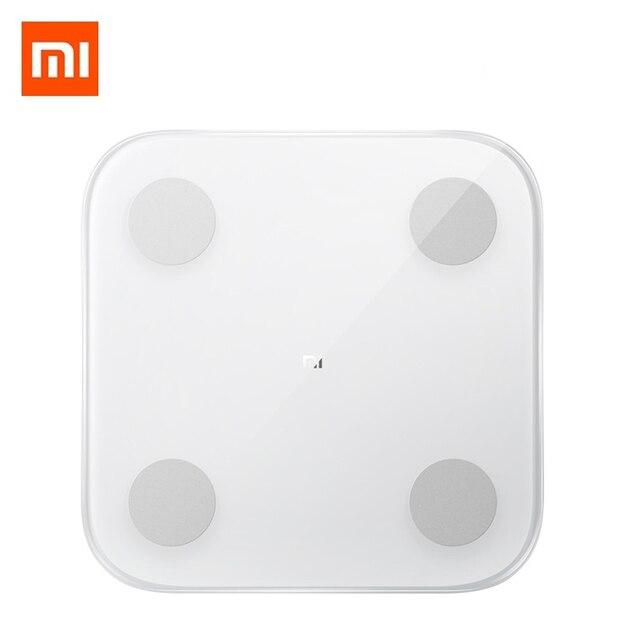 Xiaomi mi balança inteligente, balança de gordura corporal 2, bluetooth 2019, com display led, digital, para corpo, 5.0 balança de composição