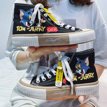 Black Cartoon Printed Chunky High top Board Sneakers Women Canvas Shoes Fashion Breathable Canvas Sports Shoes Women Espadrilles