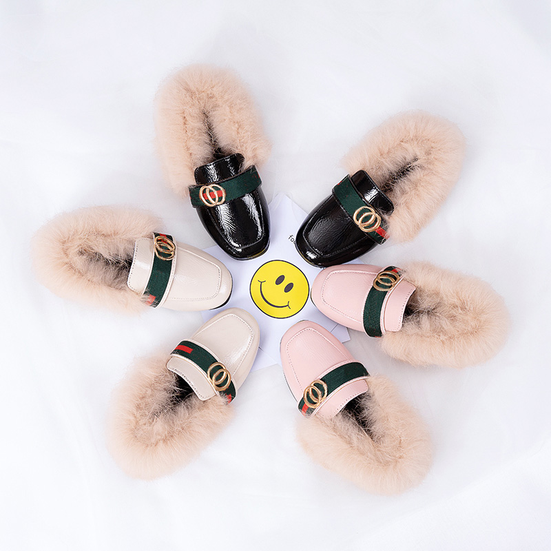 Double Letters Buckle Girls Loafers Keep Warm Plush Kids Winter Shoes Luxury Brand Green Red Striped Girls Casual Shoes
