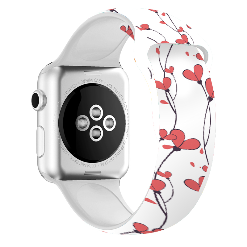 Sport Strap For Apple Watch 4 Band 40mm 44mm Silicone Wrist Band 38mm 42mm With Flower Style For Iphone Watch 2 Iwatch Series 3