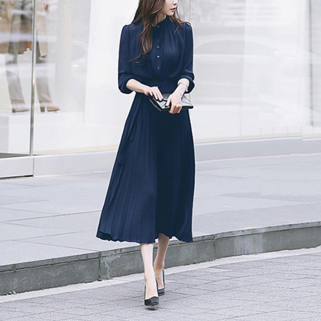 Women Casual Dresses Solid O neck Dress Long Sleeve Beam Waist Big Swing Pleated Elegant Party