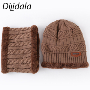 Image 5 - Dilidala Autumn Winter Knitted Hat For Women Warm Collar Sets Two Sets Outdoor Plush Wool Hat Unisex Wild Winter Hat