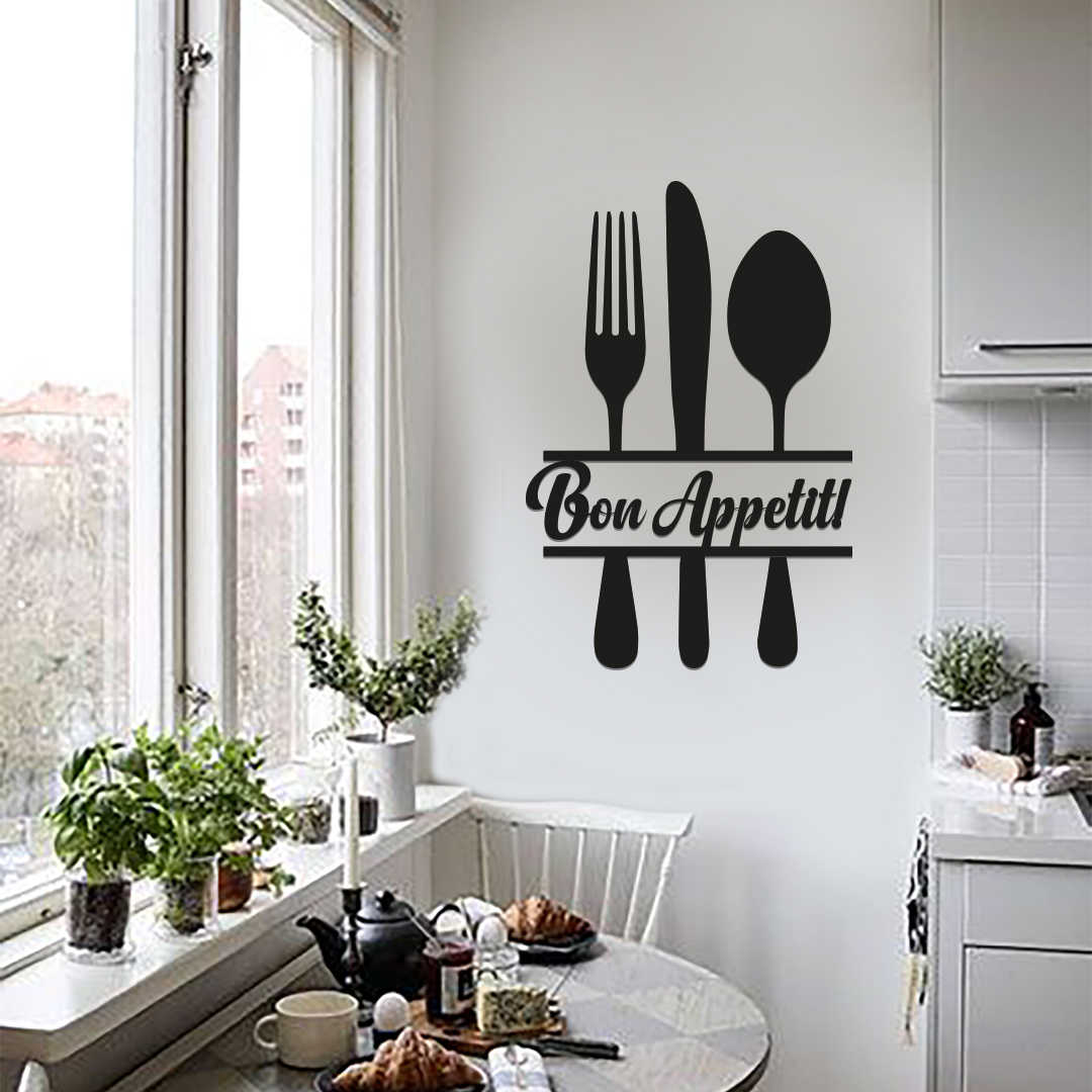 Metal Wall Decor And Art Bon Appetit Interior Design Writings Words Wall Decor Metal Phrase Aliexpress