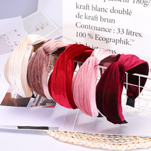 Hair Accessories Korean Velvet Cross Women Hairband Fashion Solid Color Lady Hoop Retro Wide Side Headband Headwear