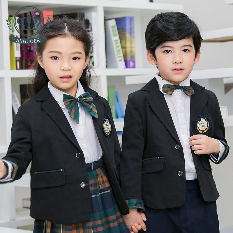 Sale Kindergarten Suit Spring And Autumn England CHILDREN'S Suit Green Plaid Suit Primary School STUDENT'S School Uniform