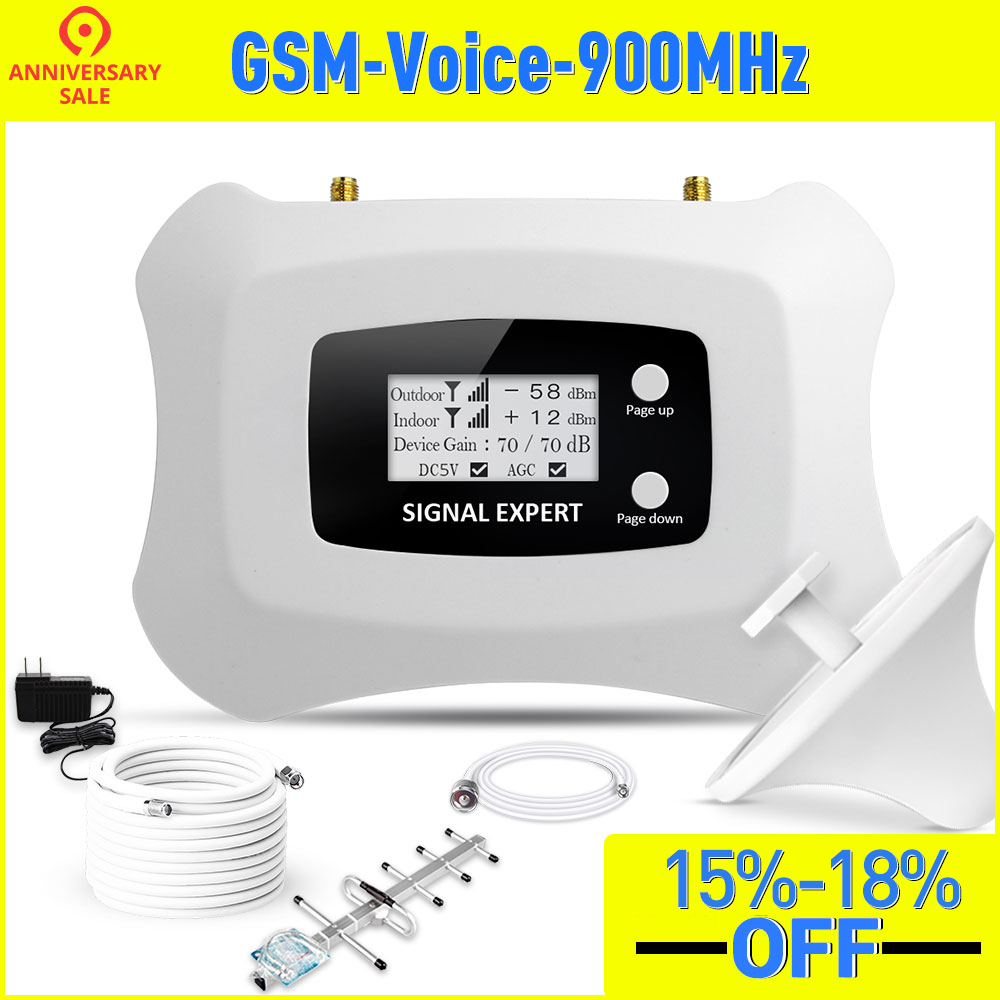 Large Coverage 350sqm Mini 900mhz GSM 2G Smart Mobile Signal Booster For 2G GSM Cellular Signal Repeater Amplifier With Yagi Kit