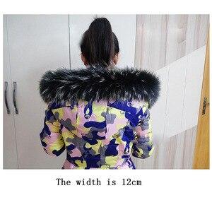 Image 3 - 100% real natural gola de pele de guaxinim capa guarnição do inverno das mulheres dos homens para baixo casaco de peles cachecóis preto cachecol personalizado zxx756 moda decoração