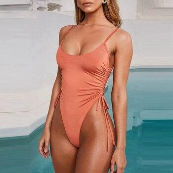 Микро купальник бандаж Цельный купальник с завязками сбоку купальный костюм сексуальный Монокини с глубоким вырезом купальник с высокой т...